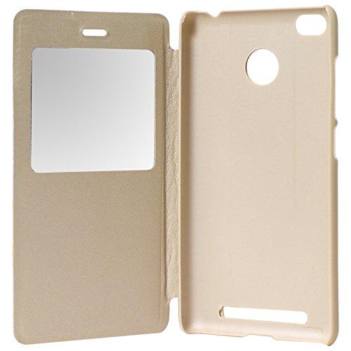 DMG Premium Leather Sview Flip Book Cover Case for Xiaomi Redmi 3s / 3s Prime (Gold)