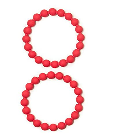 Chewable Jewelry Food Grade Silicone Bead Bracelets - Fun Sensory Motor Aid - Speech And Communication Aid - Great For Autism And Sensory-Focused Kids - 2 Red Bracelets by Chewzy Sensations