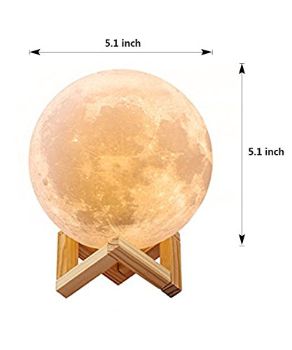 3D Moon Lamp, Aappy LED Lunar Night Light Touch Control Table Lamp Dimmable Brightness with USB Charging Moonlight Gift with Wooden Holder 13 cm (5.1 inch)