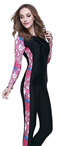 YEESAM Modest Swimwear - Taucheranzug Damen Herren Mädchen UV Schutzkleidung Sunsuit Ganzkörperansicht Badeanzug Overall Watersport (Int'l - 2XL, mit Kapuze 3) (Lycra-2 Streifen)
