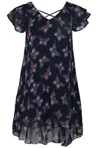 PAPRIKA Damen große Größen Voile-Kleid mit Tier-Aufdruck und Perlen Marine 0 (42) (Perlen Paprika)