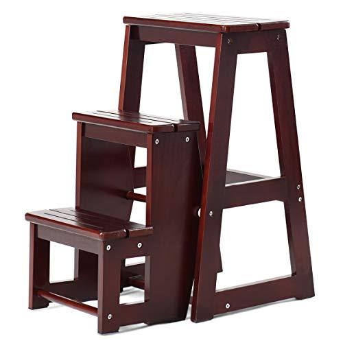 Goplus sgabello pieghevole di legno, scaletta a 3 gradini 65x57x38 cm (marrone scuro)
