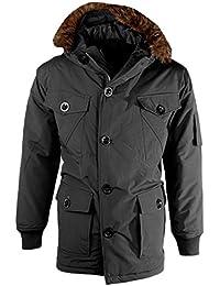 Men's Padded Fur Lined Hood Parka Jacket Winter Hooded Vintage Retro Coat