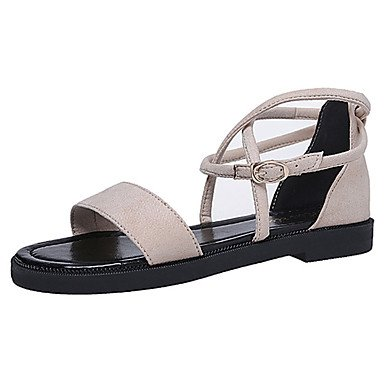 zhENfu Donna sandali di gomma Comfort estate passeggiate allaperto Comfort Lace-up tacco basso marrone chiaro beige sotto nero 1in Beige