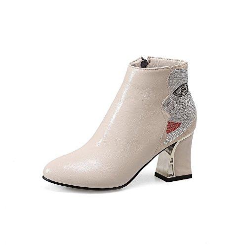 Senhoras Voguezone009 Misturam-primas Ao Redor Do Dedo Do Pé Botas De Salto Alto Zipper Creme