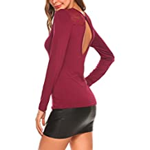Elesol Damen Sexy V Rückenfrei Pullover Twist Knot Langarmshirt Strickshirt  Strickpullover Oberteil Club Tops Party Shirt