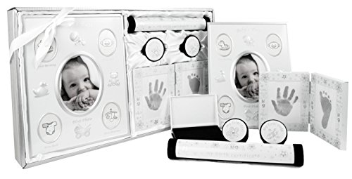 BabyRice New 5 Piece Baby Keepsake Gift Set suitable for Unisex, Boy, Girl, First Photo Frame, Curl and Tooth Box, Handprint Footprint Prints Kit. Available in Pink, Blue and Silver. (SILVER/WHITE)
