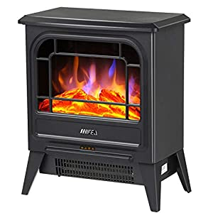 Gxywan Electric Stove Heater Fireplace With Realistic Log Wood Burning 3D Flame Effect And 2 Heat Settings - Portable Freestanding Space Heater 1800W - Black
