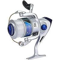 Keenso Carrete de Pesca, Cabeza giratoria de plástico 12BB para Rueda de Pesca de mar de Agua Dulce/Salada Carrete de Pesca de la Serie YF(2500-Plata)