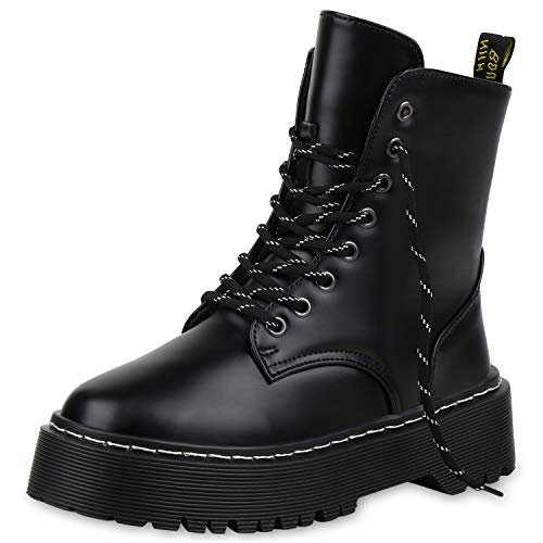 SCARPE VITA Damen Stiefeletten Worker Boots Plateau Stiefel Profilsohle Schuhe 171634 Schwarz Schwarz ()