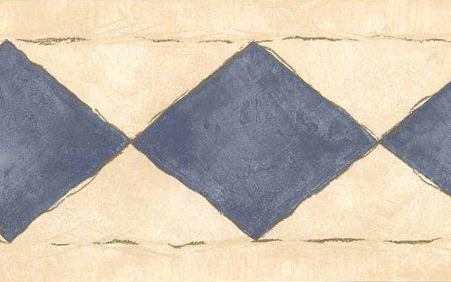 Tapete Bordüre hellblau Diamanten auf cremefarbenem Kunstleder mit Gold Akzente -