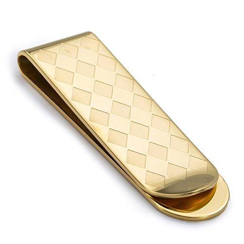 Trendsmax UOMINI Ragazzi della clip dei soldi rombico Motivo tono oro in acciaio inossidabile del supporto dei contanti