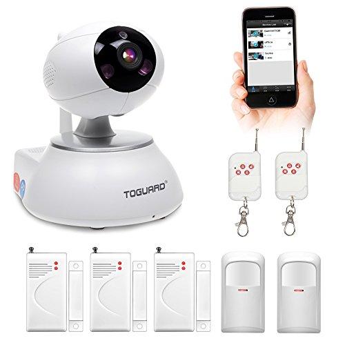 Toguard Wireless IP Camera Home Security Surveillance Alarm System DIY KIT With Door Sensor x3+PIR Motion Detector Body Sensor x2 Remote Control x2