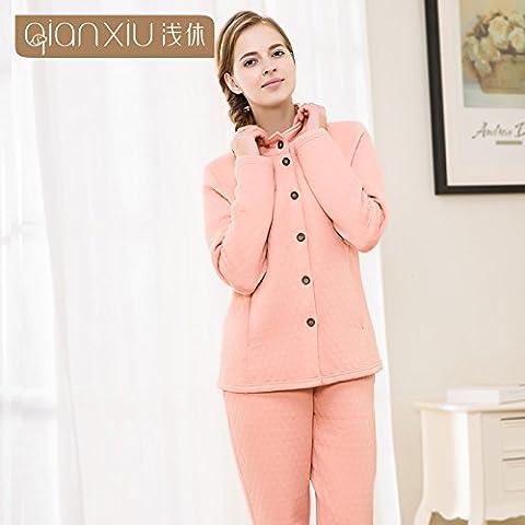 Collar de parejas de invierno Kit Cardigan Homewear, deportes y ocio nighties algodón ,pink,m