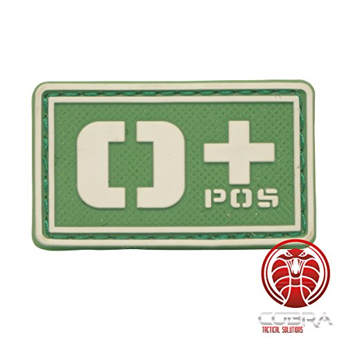Cobra Tactical Solutions Patch Militare 3D in PVC con Tipo Sangue con Velcro per Airsoft/Paintball / Fluo (Verde, 0+)