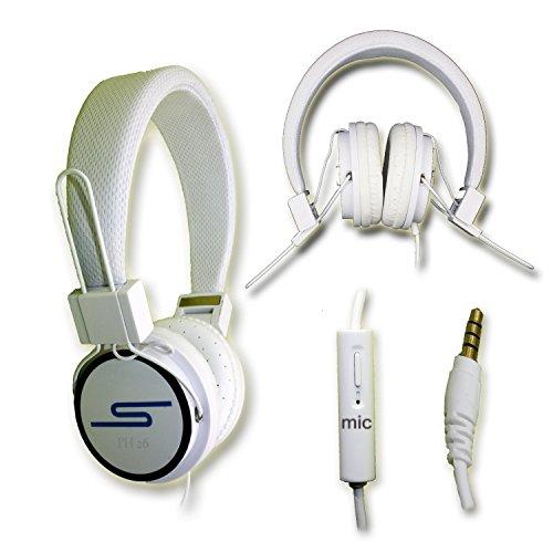 Casque audio stéréo blanc Extra-Bass Clear Sound avec fonction micro + télécommande pour Carrefour Smart 5 by PH26