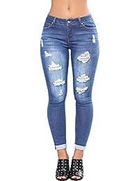 9355e65b98 Mujer Vaqueros Push Up Rotos Ocio Estilo Skinny Jeans De EláSticos Ropa  Pantalones