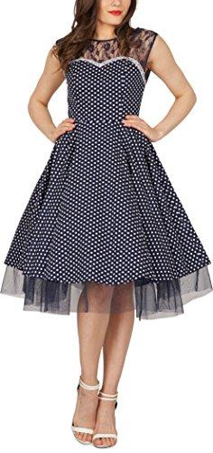 BlackButterfly 'Vivien' Vintage Polka-Dots Kleid im 50er-Jahre-Stil (Nachtblau, EUR 42 - L) - 5