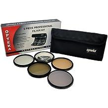 Opteka 58mm Alta Definición Profesional Kit de filtro de 5 piezas incluye UV, CPL, FL, ND4 y 10x Lente Macro para Canon EOS EF-S 18-55mm f/3.5-5.6 IS, 75-300mm f/4-5.6, EF 50mm f/1.4, 85mm f/1.8 & EF-S 55-250mm f/4.0-5.6 IS DSLR