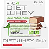 PhD Nutrition Diet Whey Bar, 50 g - Strawberry Cheesecake, Pack of 12
