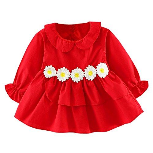 Mädchen Prinzessin Kleid, OverDose Kleinkind Kinder Baby Mädchen Blume Rüsche Kleidung Langarm Party Kleid Prinzessin Kleider Mini...