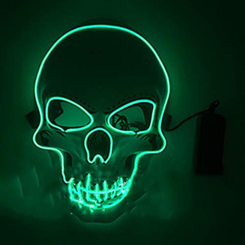 Hockey Maske Kostüm Beängstigend - LED leuchten Purge Maske, LED Ghost Horror Thriller beängstigend Fluoreszierende Halloween Maske für Festival Cosplay Halloween Kostüm,Grün