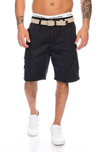 Fashion Herren Cargo Shorts mit Dehnbund - mehrere Farben ID509, Größe:3XL;Farbe:Schwarz