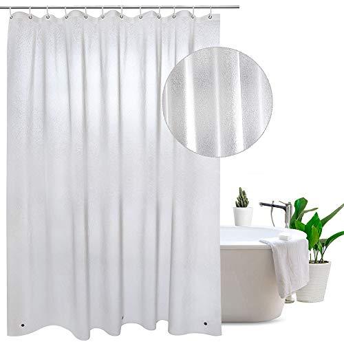 Eurcross Eva Translucent Frosted Duschvorhang mit 12 Kunststoff-Haken, waschbar Anti-Schimmel Duschvorhang Badezimmer Vorhang, 180 x 200