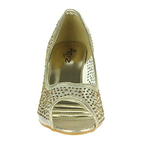 Frau Damen Mesh Diamante Peep Toe Abend Hochzeit Braut Party Prom Mittel Absatz Pumps Sandalen Schuhe Größe Gold