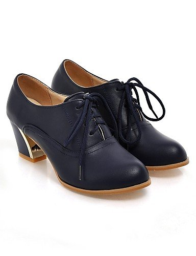 ZQ Scarpe Donna - Stringate - Tempo libero / Ufficio e lavoro / Casual - Comoda / A punta - Quadrato - Finta pelle -Nero / Blu / Giallo / , blue-us9 / eu40 / uk7 / cn41 , blue-us9 / eu40 / uk7 / cn41 yellow-us6.5-7 / eu37 / uk4.5-5 / cn37