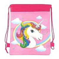 Fancy Dress VIP Express FDVIP Kids Rainbow Unicorn Drawstring Bag Girls School Swimming PE Kit Gym Shoe Travel Dance Sack Nursery Sports Backpack