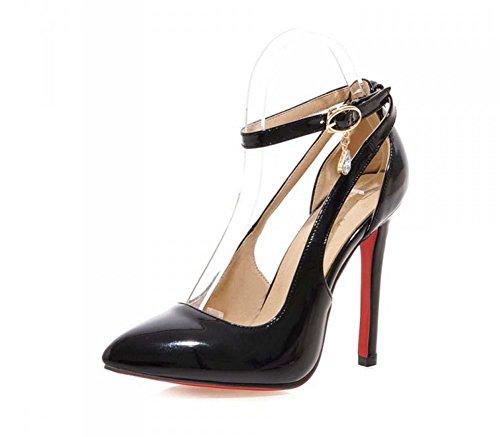 faraly wpmen Block Toe High Heels Ferse Spitz Sandale Stiletto High Heels Schuhe Hochzeit Schuhe, Dressur, schwarz (Europäische Krippe)