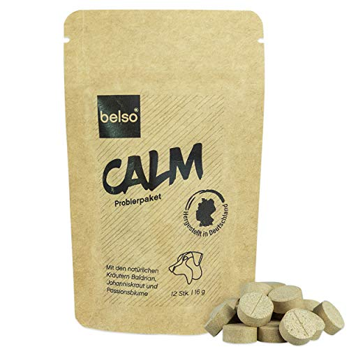 belso Calm 12 Stück Beruhigung Hund stark mit Baldrian - bei Stress Angst im Alltag Auto Reisen