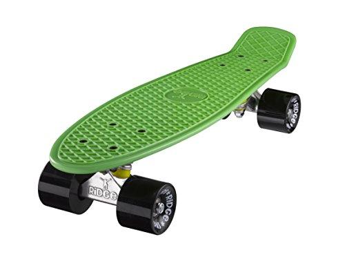 Ridge Skateboard 55 cm Mini Cruiser Retro Stil In M Rollen Komplett U Fertig Montiert Grün Schwarz