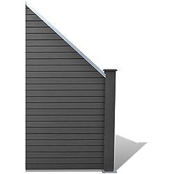 vidaXL WPC Alu schräg Gartenzaun Sichtschutzzaun Terrasse Sichtschutz Windschutz
