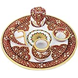 Saudeep India Trading Corporation Rajasthani Unique Traditional Hanidcraft Spiritual Marble Pooja Plate / Thali With Lord Ganesha, Pot, Diya & Religious Chopda (5 Pieces, Multicolor) Decorative Gift item Showpiece, Home Decor, Marble Handicrafts, Meenakari Work, Handwork, Handpainted, Makrana, Sangemarmar, Traditional, Decorative, Gift item, Showpiece, Corporate, Birthday, Wedding, Rakhi, New Year, Christmas, Marriage, Office, Corporate, Export, Artistic, Trending, Launched