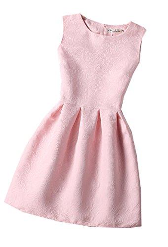 Blansdi Femme Elegant Rétro Hepburn' Classique Robe de Soirée/Cocktail/Cérémonie /Mine jupe Col rond sans Manches Chic motif différent Rose6300