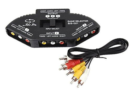 SaySure - 3 Way Port Audio Video AV RCA Switcher Splitter Av-pin Jack