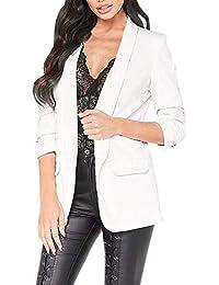 067bf3cdb8f52 Luckycat Moda para Mujer Estilo OL Blazer de Manga Larga Elegante Traje  Delgado Escudo Casual