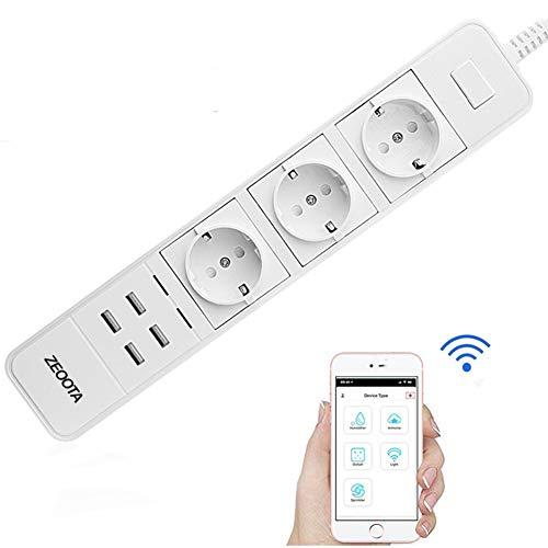 JYL Smart WiFi Power Strip Überspannungsschutz Mehrere Steckdosen 4 USB-Anschluss Sprachsteuerung, für Konferenzraum Outlet/Home/Office (weiß) -