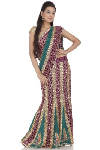 Chhabra555 Maroon and Green Faux Georgette One Minute Saree