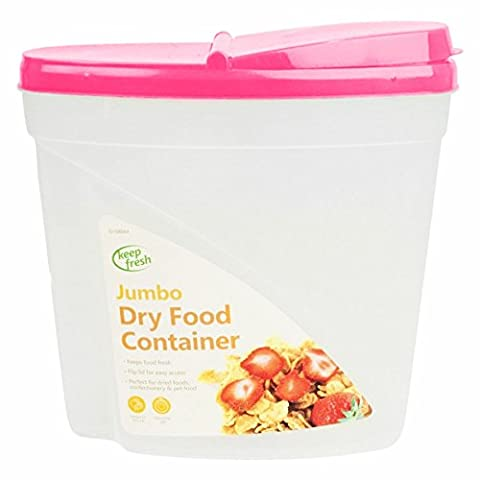 5L Dry Food Storage Container Large Plastic Box Cereal Dispenser Lid Pasta Snack Fresh Food Seed Dog Cat Pet Bakery Tub Can - PInk