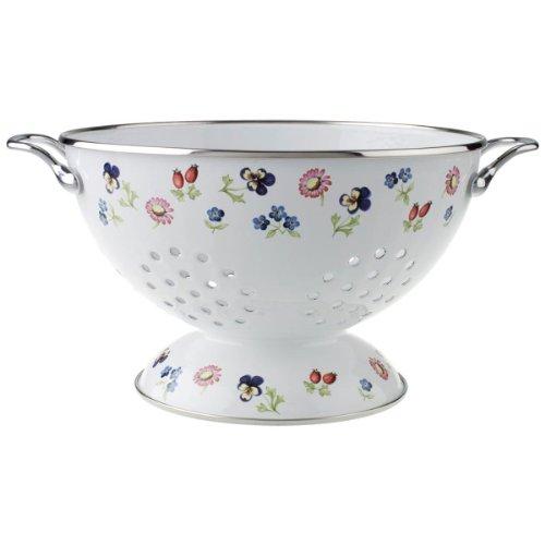 Villeroy & Boch Petite Fleur Kitchen Sieb, 28,5x22,5x14 cm, Emaillierter Stahl, Weiß/Bunt