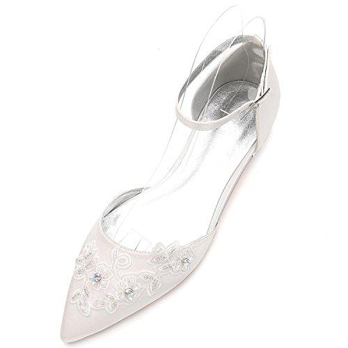 L@YC Damen-Hochzeits-Court-Schuhe 5047-16 Schnallen-Blumen-Pumpen schlossen Zehe-Plattform-Flache Schuhe, Ivory, 42
