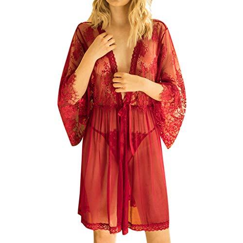 Maleya Frauen Dessous Robe Langes Spitzenkleid Sheer Gown See Through Kimono Cover Up Weste Nachtwäsche Hose für Damen Kontrolle des Bauchkorsetts Korrektor Schlankes Frauen Hohe Figurformender - Sheer Cover-up-hose