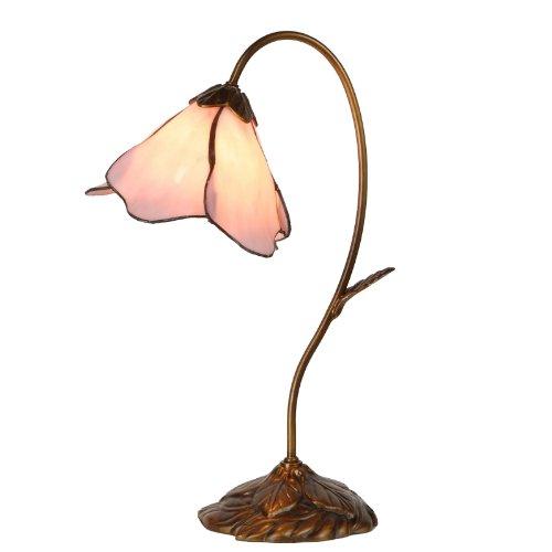 Lumilamp 5LL-5327 Tischleuchte Tischlampe Tiffany Stil Rosa Ø 31 * 48 cm 1x E14 / Max 40W dekoratives buntglas Tiffany Stil - Tiffany-art-glas-tisch-lampe