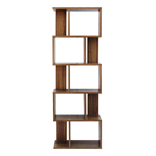 Mobili rebecca® libreria scaffale 5 ripiani marrone rovere contemporanea legno studio salotto (cod. re6031)