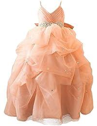 71d1388d88df8 VKStar® Robe Enfant Mariage Longue Organza Robe Fille Cérémonie Soirée  Bretelles Fines Robe Princesse Fille