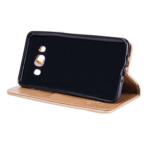 Galaxy J5 Ledertasche Hülle,EVERGREENBUYING - Blumenmuster Handyhülle SM-J500F Aufklappbare Leder Schutzhülle im Flip Etui Cover Style Für Samsung Galaxy J5 (2015) Gold Gold