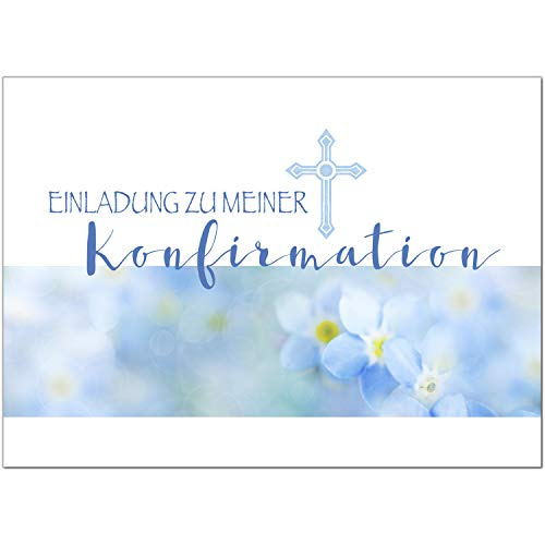 15 x Einladungskarten zur Konfirmation mit Umschlägen/Vergiss mein nicht, blau/Konfirmationskarten/Einladungen zur Feier